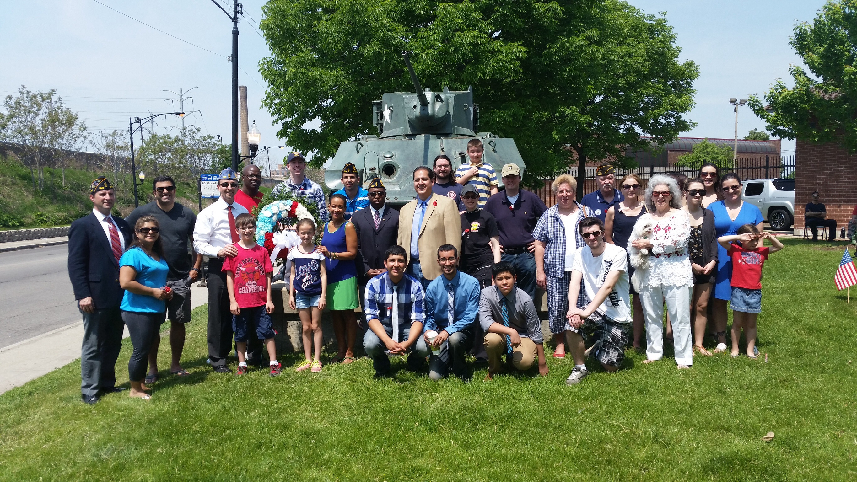 Members of the American Legion Post 623 with SPAC President David R. Ramos and SPNA President Kathy Smith at the 2014 Memorial Day celebration at Smith Park.