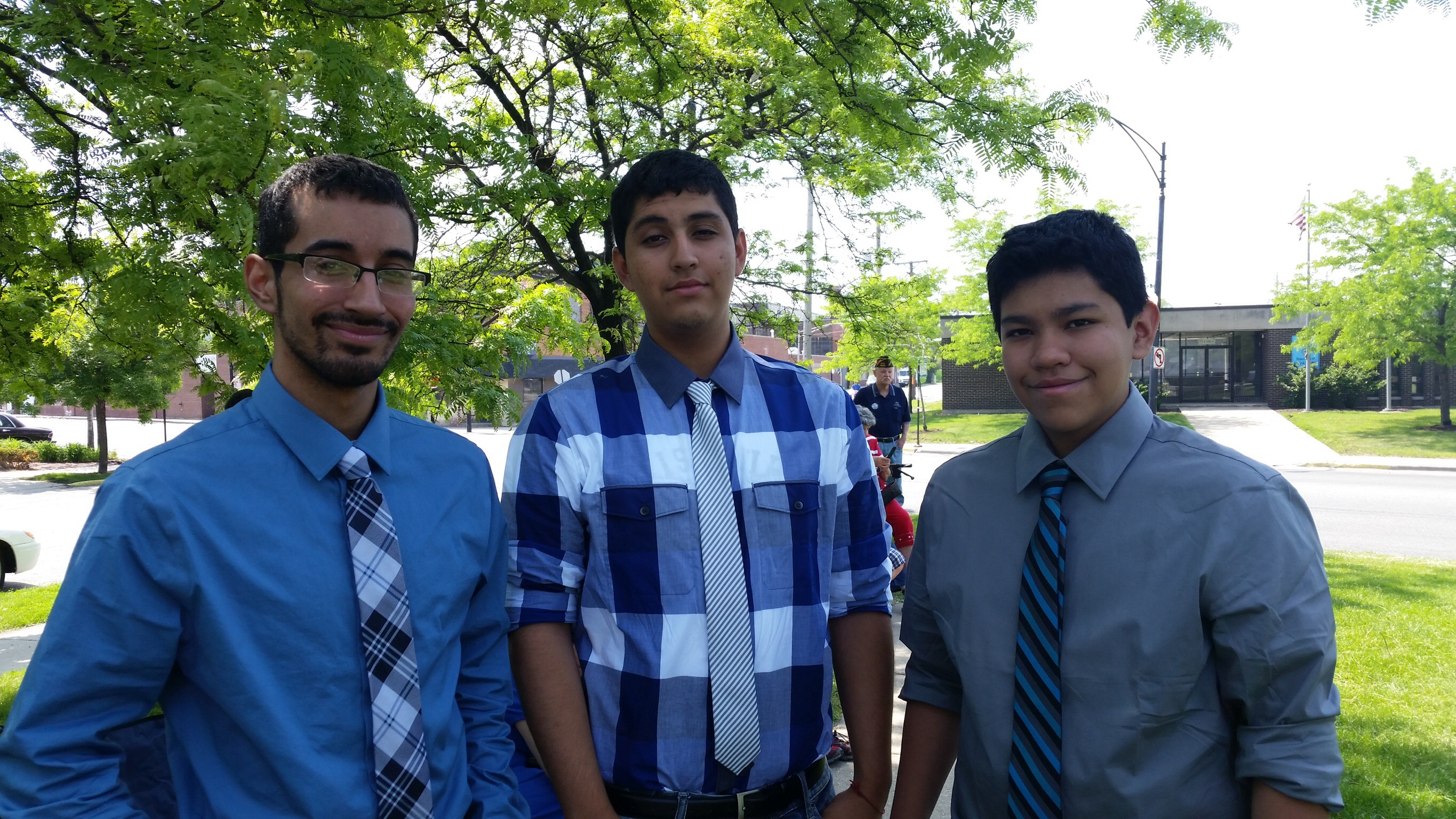 "Nicolas, David ""Dj"" and Joshua Ramos participate at the Smith Park Memorial Day event."