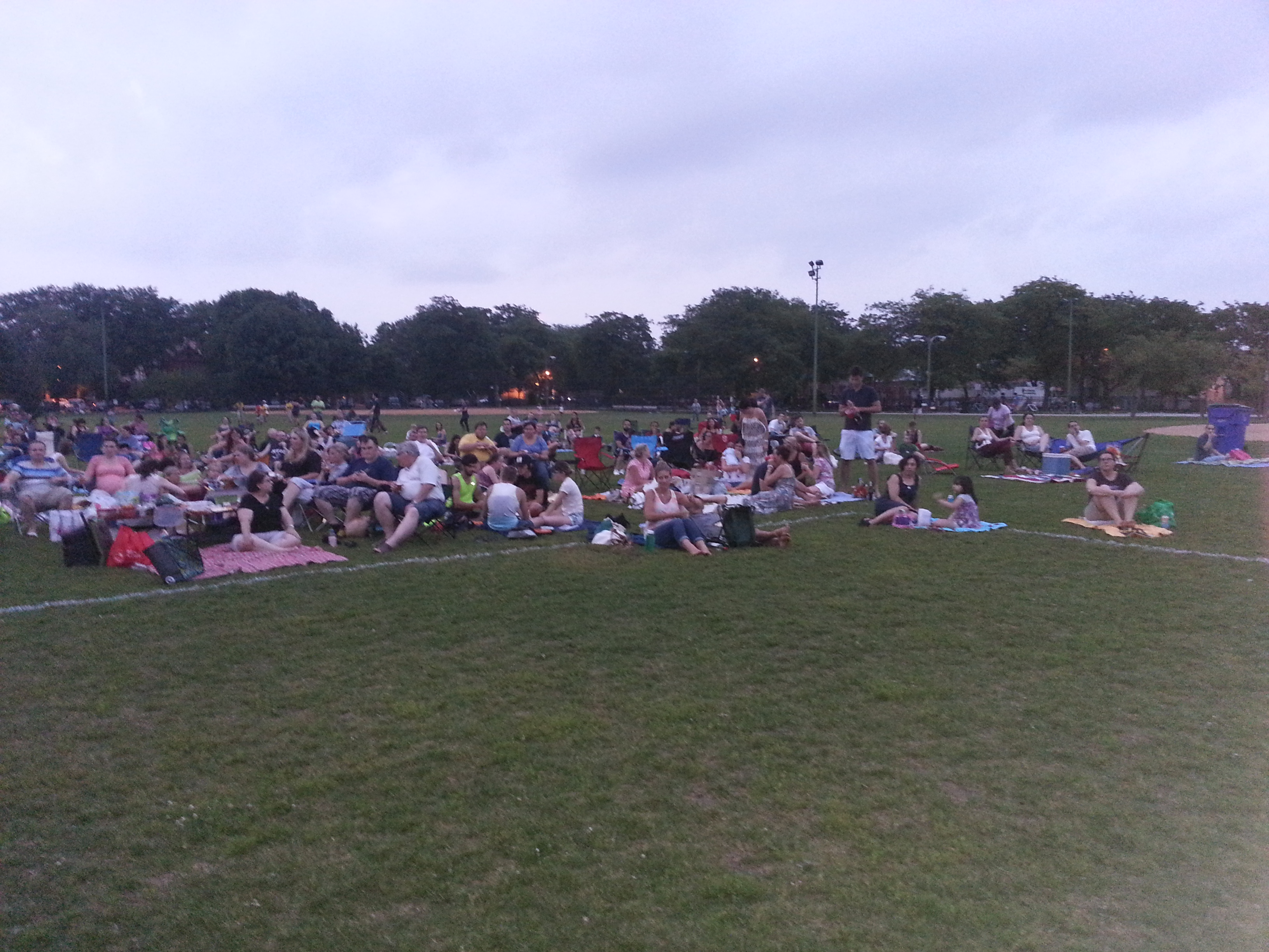 Residents arrive early at Smith Park for a good seating for the Movie in the Park