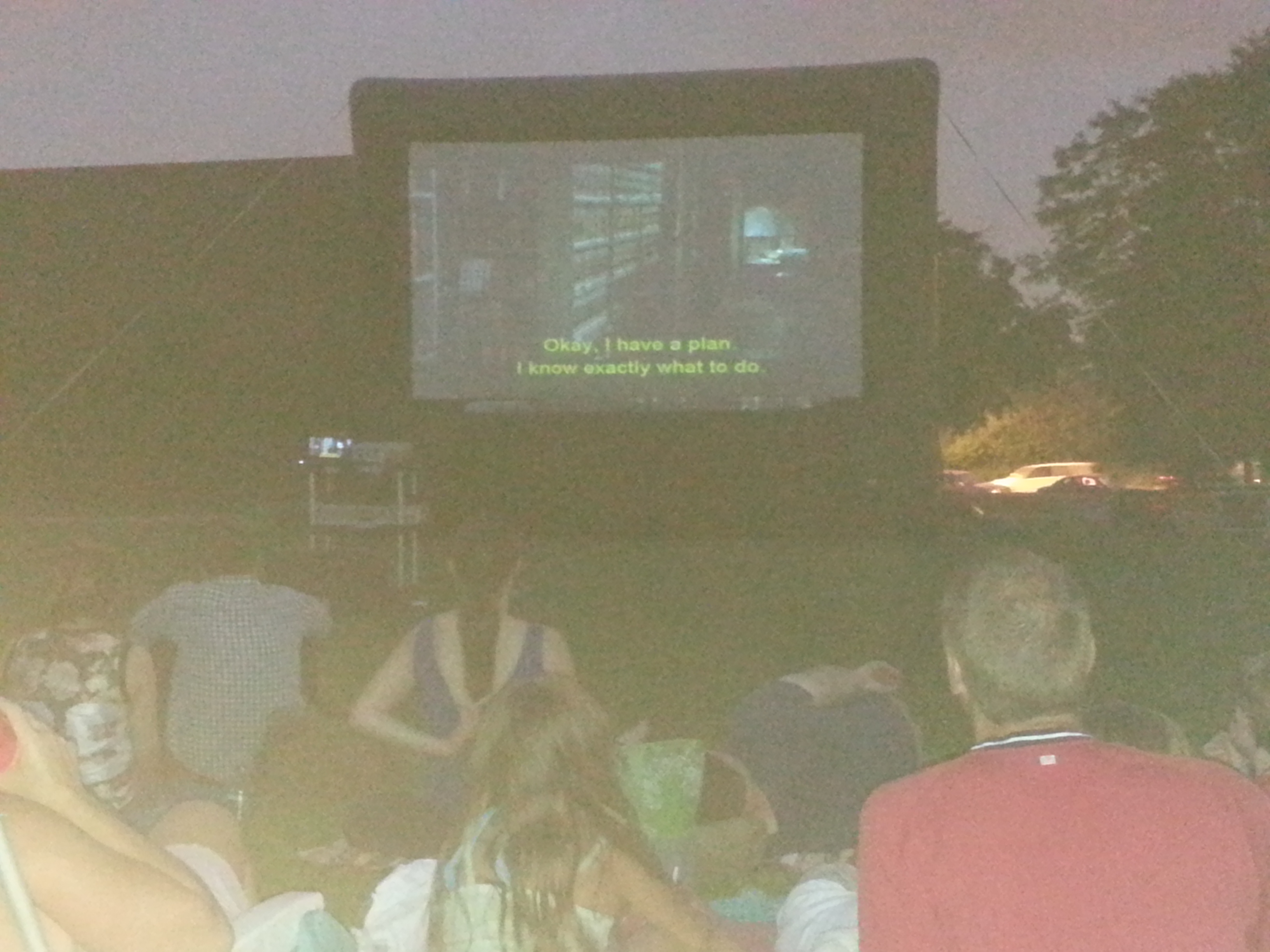 Residents enjoy a night in the park watching GhostBusters, underwritten by the Smith Park Advisory Council