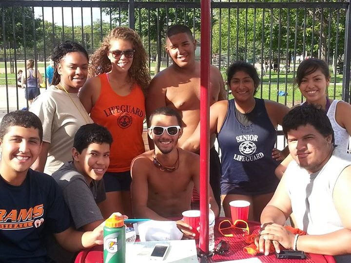 Friends and lLife Guards take a second during break to say good-bye to another successful summer, swimming at Smith Park.  SPAC wishes all the Life Guards who served at Smith Park much success at college.