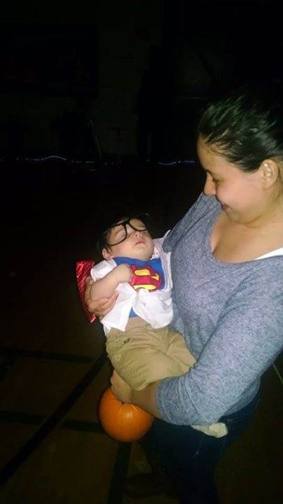 Baby Clark Kent wins first place in the toddlers Halloween contest.
