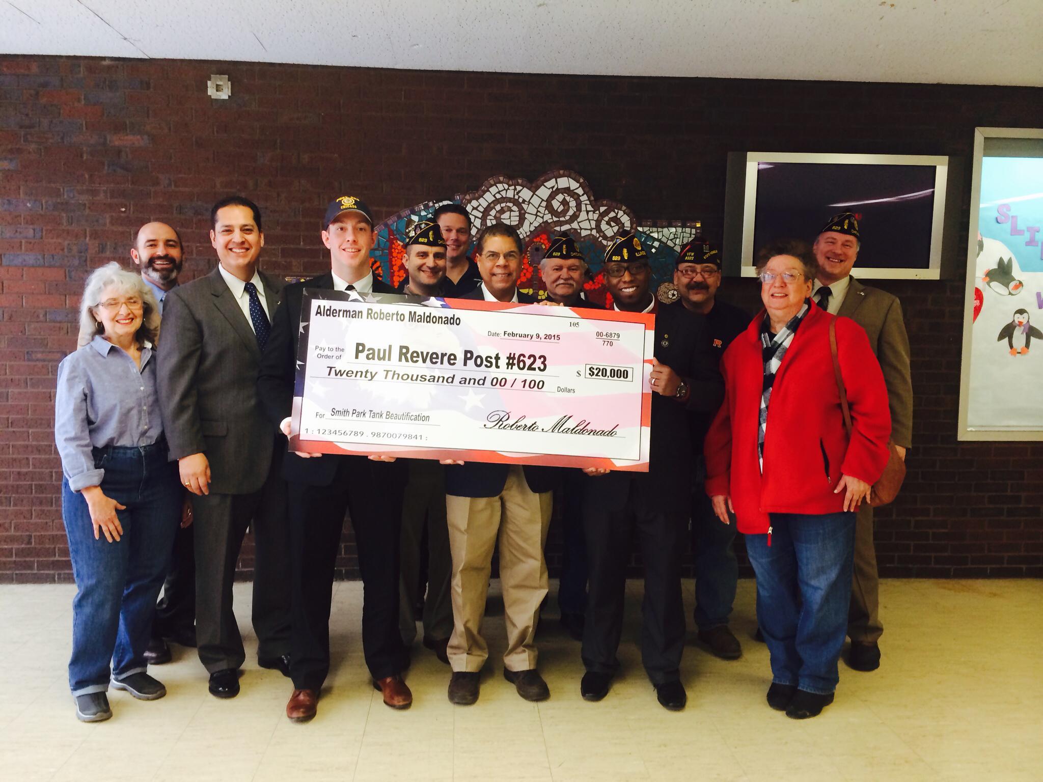 Smith Park and the American Legion Post Paul Revere # 623 receives $20,000 from Alderman Roberto Maldonado