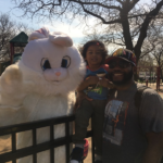 Smith Park Advisory Council sponsors the Easter Egg Hunt. SPAC past president Erich Muellner (Easter Bunny) along with Jeremiah Pasaye and his father Robert Blackmon get ready for some fun.